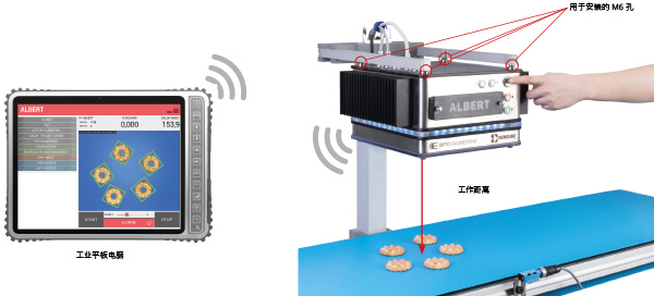 <p>There are 4 M* holes M6 to mount ALBERT on the production line at the correct working distance. ALBERT can be configured using the buttons on the product or by tablet / PC.</p>
