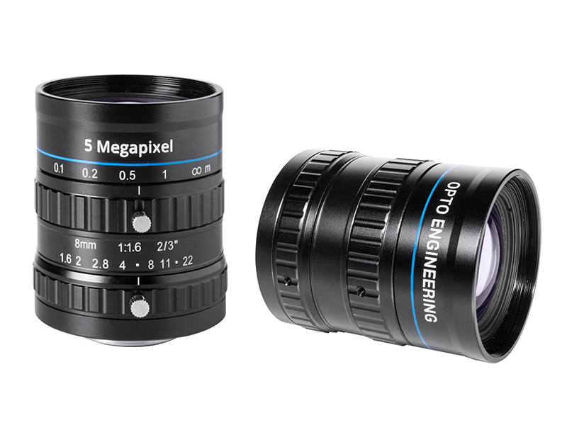 Fixed focal 5 Megapixel lens, focal length 8 mm, f# 1.6 - 22, C-mount