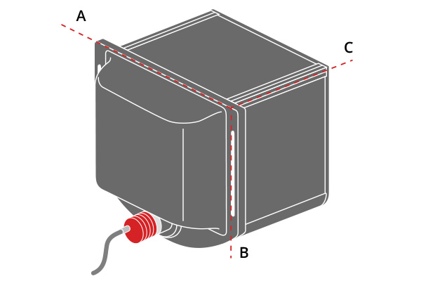 A, B an C indicate the mechanical dimensions of the illuminator.