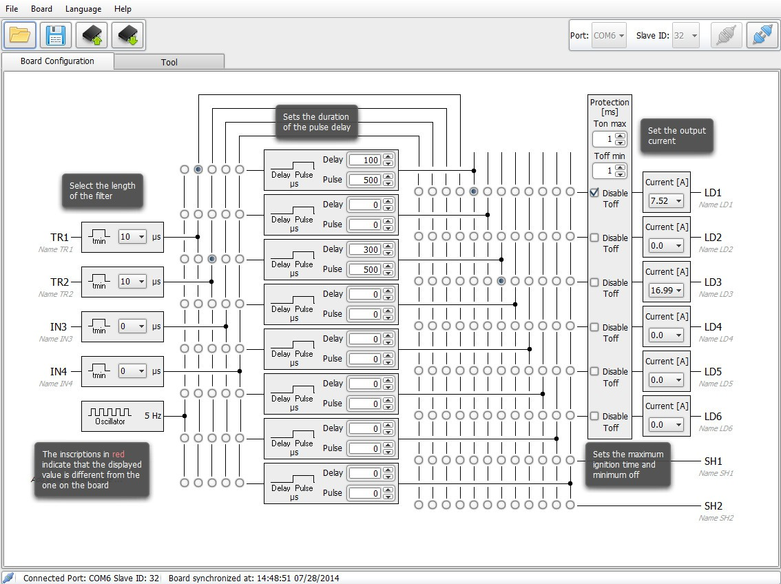 Main control panel of configuration software