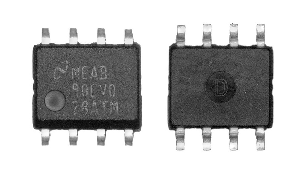 Two sides of a chip package inspected by View-through bench