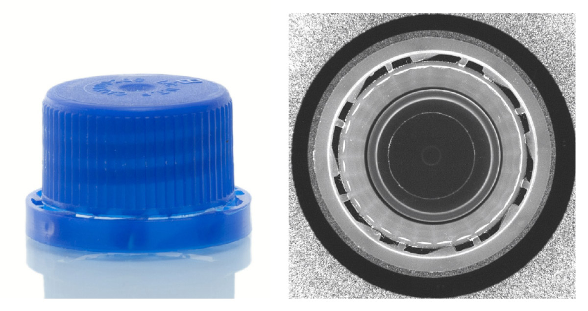 Bottle cap inspection with PCCD, checking the integrity of the plastic retaining ring