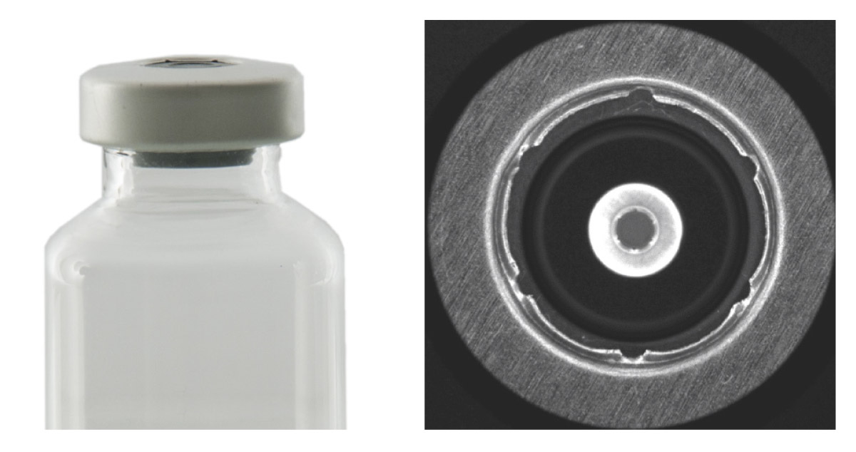 A small cap imaged with a catadioptric lens: both the top and side surfaces are perfectly focused.