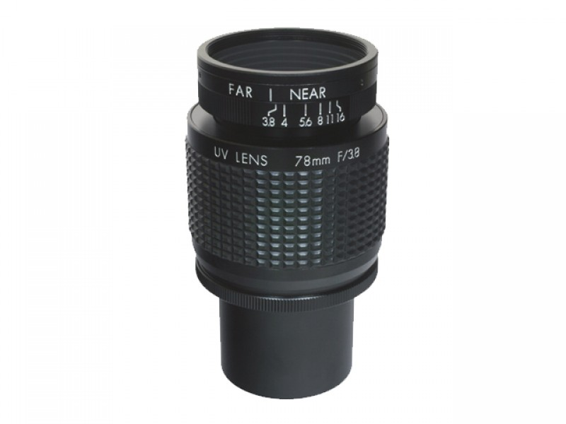 """UV (365 nm) C-mount lens, 78 mm F3.8, for up to 1"""" detectors"""