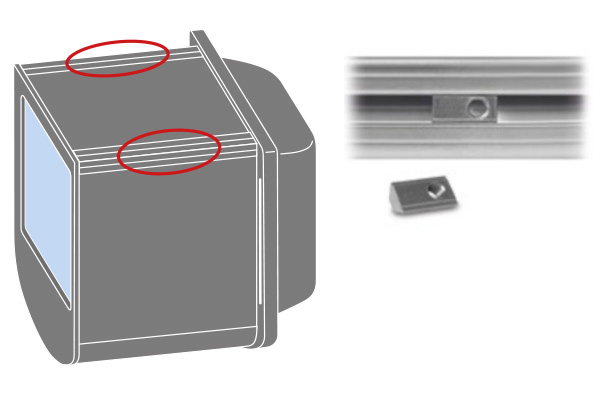 Built-in mounting flange and standard aluminum T-slot profiles. No additional mounting clamps required.