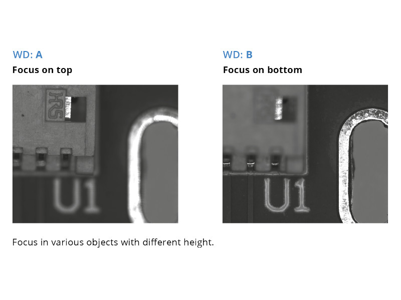 Focus in various objects with different hight
