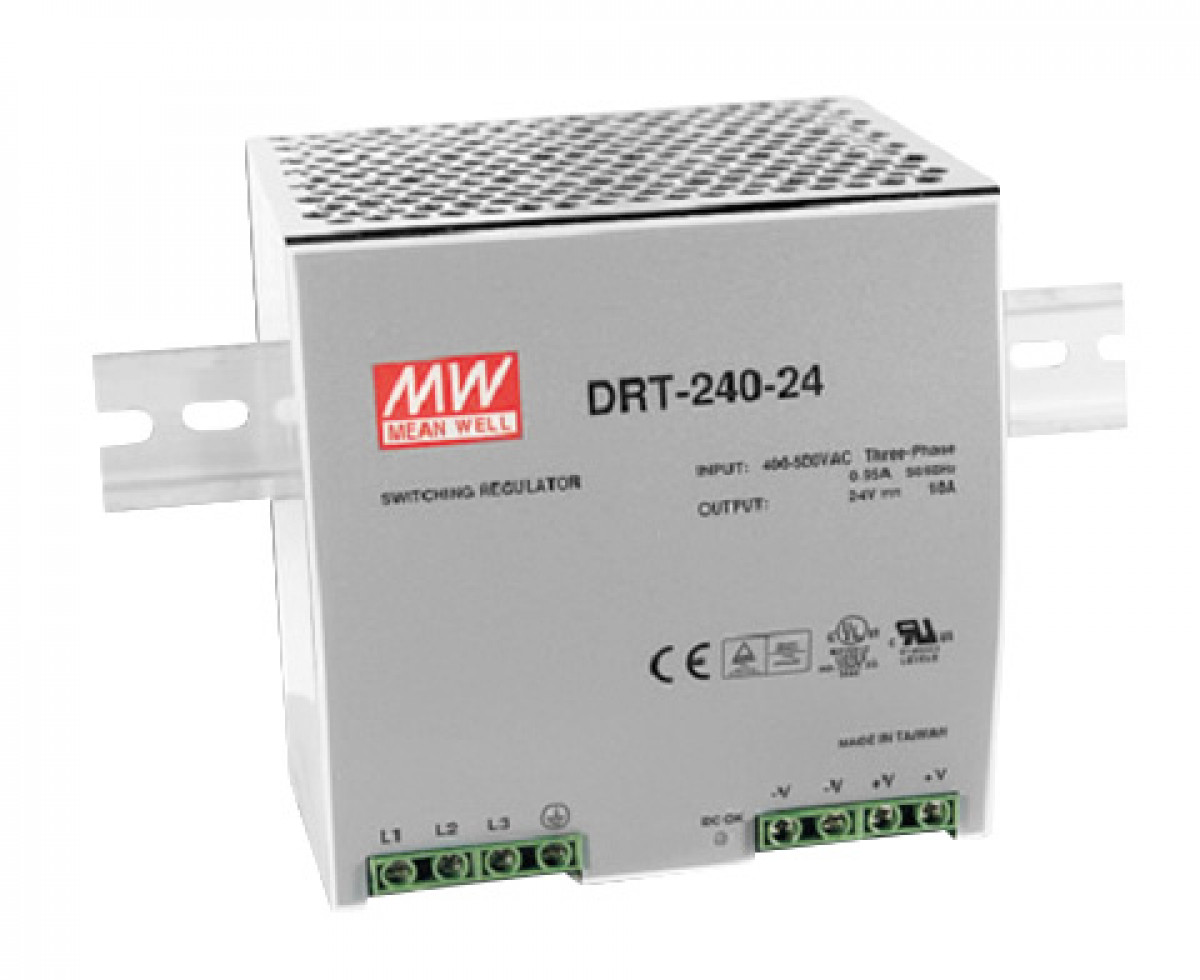 DIN rail power supply 400V ac three phase - 24V dc 240 W